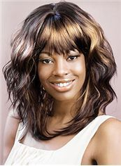 Wig Online Medium Wavy Brown Full Bang African American Wigs for Women 16 Inch