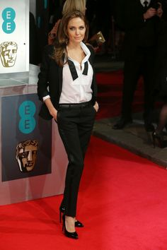 The Most Memorable Fashion Moments from the BAFTAs: Menswear done masterfully. Angelina Jolie wore a slim Saint Laurent suit on the red carpet and proceeded to blow everyone away -- even her date, Brad Pitt. Sorry, buddy.