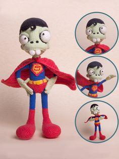 PATTERN - Zombie Superman - crochet pattern, amigurumi pattern, pdf, DIY