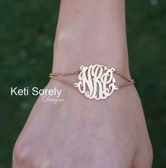 Double Chain Monogram Initials Bracelet or Anklet (Order Any Initials) -14K Rose Gold and Sterling Silver