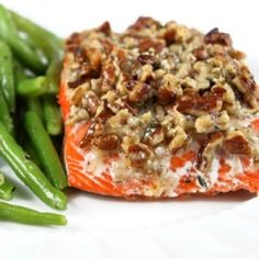 Baked salmon with a pecan parmesan topping