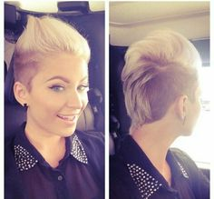 Short blonde and brown female mohawk
