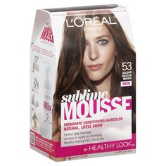 L'Oreal Paris Sublime Mousse by Healthy Look Hair Color, 53 Golden Medium Brown Medium Golden Brown, Loreal Paris, Damaged Hair, Easy Hairstyles, Mousse, Shampoo, Hair Color, Conditioner