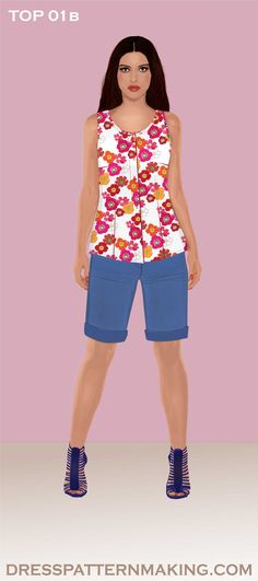 Sleeveless top with side seam dart, waist dart and button placket. Top Pattern, Step By Step Instructions, Collars, Create Your Own, Sewing Patterns, Product Description, Sleeves, How To Make, Tops