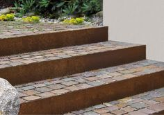 gartenmetall® - garden objects made of metal - earth Outdoor Stairs, Outdoor Flooring, Landscape Stairs, Landscape Design, Amazing Gardens, Beautiful Gardens, Decorative Gravel, Metal Earth, Hillside Landscaping