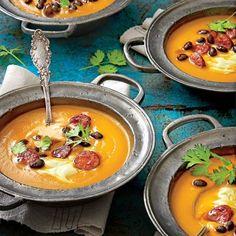 October 2015 Recipes: Spicy Pumpkin Soup with Avocado Cream