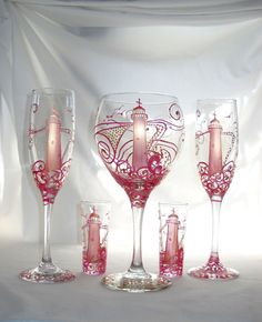 Pink Biloxi Lighthouse Hand Painted Glassware by SkySpiritStudios