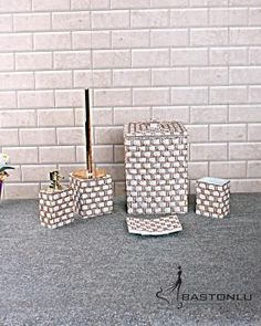 Polyester Lüx Desenli Banyo Seti - Sarı