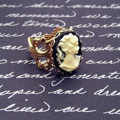 Vintage Victorian Cameo Filigree Ring - Absolutely beautiful!  Size 7 with diamonds please! :)