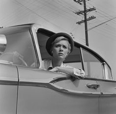 "Inger Stevens in The Twilight Zone episode, ""The Hitchhiker"""