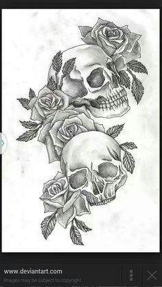 #Skulls#roses#tattoo
