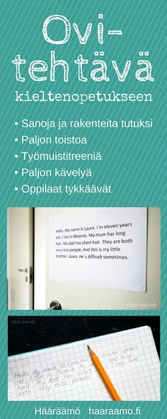 Toiminnallinen ovitehtävä kieltenopetukseen (toimii myöäs muissa aineissa ja aiheissa). Teaching Schools, Teaching Aids, Teaching Methods, Teaching Resources, Teaching Spanish, Teaching English, School Classroom, School Fun, English Lessons