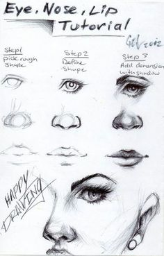 how to, tutorial, eyes, nose, mouth, sketch, facial expressions and features