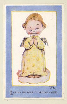 Mabel Lucie Attwell Artist Signed Postcard Valentine's 3861 Girl Guardian Angel