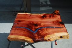 Live Edge Cedar Table TOP with Blue Lapis and Quartz Stone Inlay and Resin Seal