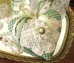 Sachet Heart, Heart Sachet, GREEN IVORY Check, Lavender Buds, Prim Primitive Cloth Handmade CharlotteStyle Decorative Folk Art. $13.00, via Etsy.   <3