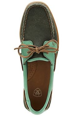 Ariat Yuma Women's Driftwood & Marina Blue Moc Shoe | Cavender's