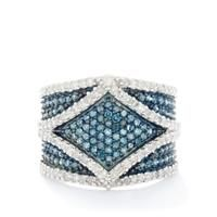Blue Diamond Ring with White Diamond in 9k White Gold 1.50cts