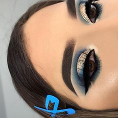 blue and gold 🦋🦋🦋 obsessed with this look - Matte Concealer in light 10 (under eyes and as eyeshadow base) - -… Under Eye Makeup, Gold Eye Makeup, Makeup Eye Looks, I Love Makeup, Blue Eye Makeup, Simple Makeup, Blue Eyeshadow For Brown Eyes, Gold Eyeshadow Looks, Eyeshadow Base