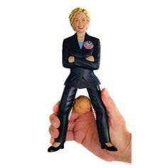 The Hillary Nutcracker by CSB Commodities. $11.49. Nine-inch tall, fully functional, resin nutcracker with amazing likeness of Hilary Clinton. Stainless steel teeth secured inside upper legs to grip and crack nuts in their shell. Guaranteed to be the talk of any Party. Stands upright and has internal stainless steel components and spring. Hand wash recommended. Is America ready for THIS nutcracker? You have just found the most innovative new product of the year! Get your ...