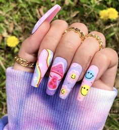 Acrylic Nails Coffin Short, Best Acrylic Nails, Acrylic Nail Designs, Coffin Nails, Funky Nail Designs, Summer Acrylic Nails, Pastel Nails, Funky Nails, Dope Nails