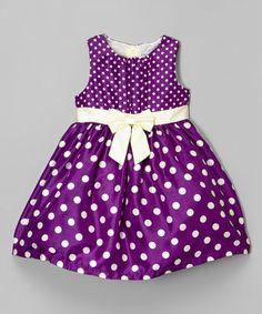Look at this #zulilyfind! Purple Polka Dot Shantung Dress - Infant, Toddler & Girls #zulilyfinds