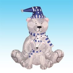 """Christmas Inflatable Polar Bears by BZB Goods. $75.00. Everthing Included: Inflator Fan, Ground Stakes and Tethers. Deflates Back Down for Easy Storage. Great for Indoor and Outdoor; Easy Set Up. Self Inflates in Moment, Inflated Size: 71""""L x 47""""W x 57""""H. Lights Up for Better Nighttime Viewing. 100109 Christmas inflatable is sure to bring delight to children and adults alike. Don't think about where you are going to store it until next Christmas. Once deflated, it's compac..."""