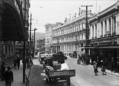 Manners Street, Wellington, ca 1928 Reference Number: Photographer: Sydney Charles Smith Glass negative Find out more about this image from the Alexander Turnbull Library. Wellington City, Frozen In Time, Great Pictures, Manners, Old Photos, New Zealand, The Past, Street View, Photographer Sydney