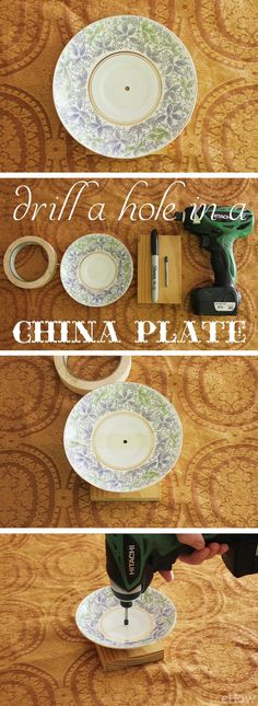 To drill a hole into your china plates or porcelain pieces, you'll need the right materials and simple techniques. Learn how to here: http://www.ehow.com/how_7674179_drill-hole-china-plate.html?utm_source=pinterest.com&utm_medium=referral&utm_content=inline&utm_campaign=fanpage