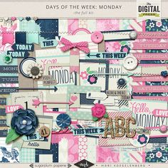 Mari Koegelenberg and Sugarplum Paperie are celebrating every day of the week with a beautiful coordinating digital scrapbooking collection! Days of the Week : Monday is a kit that will start your week off right! With a lovely combination of navy, aqua and pink, this is one Monday you'll be happy about.