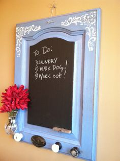 Chabby Chic Chalkboard with Vintage Knobs & flower by RusticCharm, $48.00