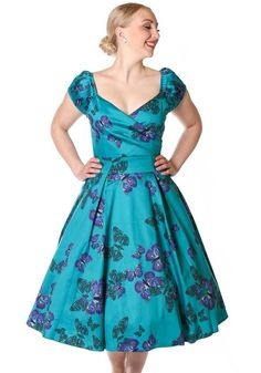 The Teal Green Butterfly Rosetta Swing, Swing dress - Lady Vintage  www.misswindyshop.com