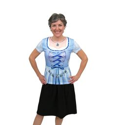 Enjoy your Oktoberfest in style by wearing this faux dirndl blue shirt. Comfortable and durable, this uniquely designed shirt has easy care materials. Realistic Costumes, German Costume, Oktoberfest Costume, Costume Shirts, Overall Shorts, Nice Dresses, What To Wear, Dress Up, Blue