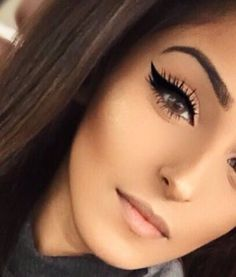 bold winged liner with nude lip