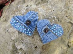 Earrings  Heart Shaped Recycled Levi's Denim by daringmisslassiter, $15.00