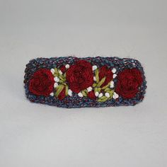 Embroidered Barrette  Red Roses by Lynwoodcrafts on Etsy, £9.00