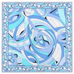 EMILIO PUCCI White Blue Abstract Print Silk Scarf - Handkerchief - Pocket Square