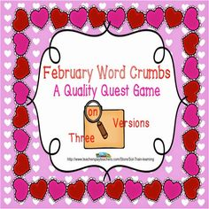 This is a brain game for your kiddos to practice looking for word chunks in February vocabulary words. This game can be played alone, with a partner, or as a class. The kids have to look through all the words to find the answers for each card. These words are from our February Calendar. $ Add magnifying glasses for extra fun.