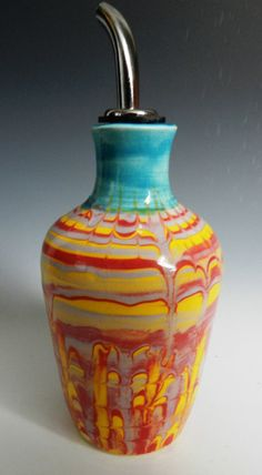 Olive oil bottle with marbled colored by MarkCampbellCeramics, $35.00