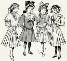 """free printable digital image design resource ~ vintage fashion for girls from June 1908 issue of """"The Delineator"""" magazine"""