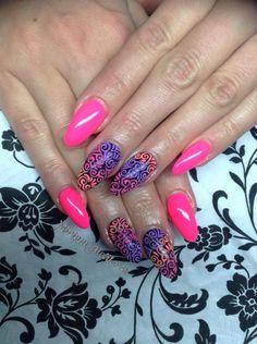 sugar effect, neon nails