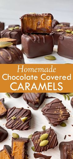 These healthy pumpkin caramels are no bake, gluten free, dairy free and paleo friendly. This easy fall recipe has a creamy caramel pumpkin filling that's coated in dark chocolate and topped with cinnamon. #pumpkincaramels #paleocaramel #dairyfree #pumpkinpuree Chocolate Coating, Melting Chocolate, Chocolate Covered, Easy To Make Desserts, Healthy Dessert Recipes, Egg Free Recipes, Fall Recipes, Eggless Recipes, Keto Recipes