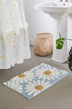 Shop Daisies Tufted Bath Mat at Urban Outfitters today. We carry all the latest styles, colours and brands for you to choose from right here. Boho Bathroom, Bathroom Rugs, Bath Rugs, Bathroom Ideas, College Bathroom Decor, Master Bathrooms, Bathroom Makeovers, Luxury Bathrooms, Bathroom Remodeling