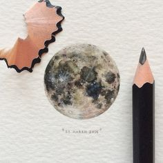 Day 13/100 (4/25 #microcosmmondays) : The Moon | La Luna. 29 x 29 mm. THIS PAINTING WILL BE UP FOR AUCTION FOR A WEEK STARTING ON 25 MARCH 2015. #paintingsforants #potluck100pfa #miniature #watercolour #art #moon