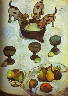 Paul Gauguin >> Stillleben mit drei Welpen