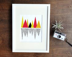 Bold Graphic Geometric Wall Decor - Mountain Reflection Art Print - Black, Red, Orange, Yellow - 8x10
