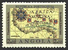 Map of Angola (1460-1960),( Republica Portoguesa, Portuguese Angola or Portuguese West Africa) Republic of Angola