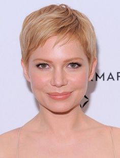 Michelle Williams Short Straight Pixie Cut with Bangs for round face