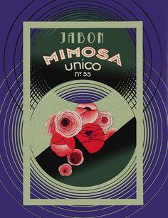 POSTER. Único Jabon Mimosa.Great image for Shop.Rose Soap ad Decor art. 28i #InteriorDesigns #Vintage