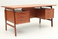 Original Teak Desk by Gunni Omann, Denmark | From a unique collection of antique and modern desks and writing tables at https://www.1stdibs.com/furniture/tables/desks-writing-tables/